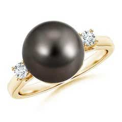 Tahitian Cultured Pearl Ring with Diamond Accents