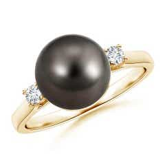Tahitian Cultured Pearl Solitaire Ring with Diamonds