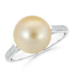 Golden South Sea Cultured Pearl Ring with Pave Diamonds