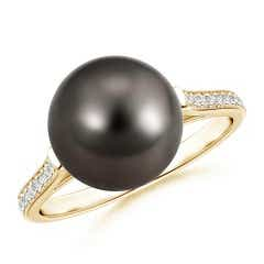 Tahitian Cultured Pearl and Diamond Cathedral Ring