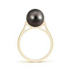 Toggle Tahitian Cultured Pearl Ring with Pave Diamonds