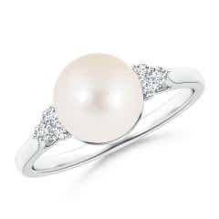 Angara Tahitian Cultured Pearl Split Shank Ring with Double Halo