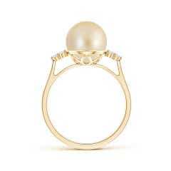 Toggle Golden South Sea Cultured Pearl Ring with Trio Diamonds