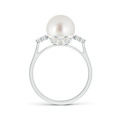Toggle South Sea Cultured Pearl Ring with Trio Diamonds