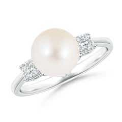 Freshwater Cultured Pearl Ring with Cluster Diamonds
