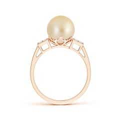 Toggle Golden South Sea Cultured Pearl Ring with Cluster Diamonds