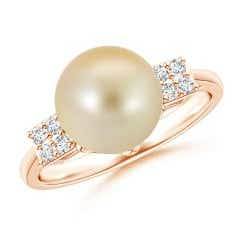 Deco Inspired Solitaire Golden South Sea Cultured Pearl Ring with Cluster Diamonds
