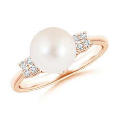 Deco Inspired Solitaire Freshwater Cultured Pearl Ring with Cluster Diamonds