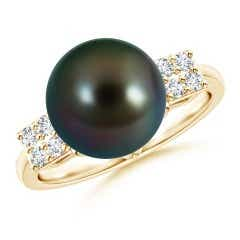 Tahitian Cultured Pearl Ring with Cluster Diamonds