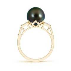 Toggle Tahitian Cultured Pearl Ring with Cluster Diamonds
