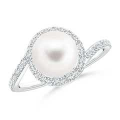 Ball Shaped Freshwater Cultured Pearl Bypass Ring with Diamond Halo