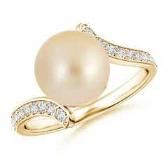 Golden South Sea Cultured Pearl Bypass Ring