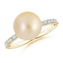 Classic Golden South Sea Cultured Pearl Solitaire Ring