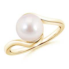 Peg Set Solitaire Round Akoya Cultured Pearl Bypass Ring