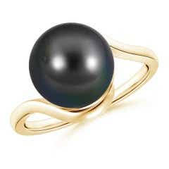 Tahitian Cultured Pearl Solitaire Bypass Ring