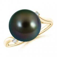 Angara Tahitian Cultured Pearl Ring with Floral Diamond Halo