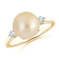 Classic Golden South Sea Cultured Pearl Ring with Diamonds