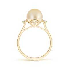 Toggle Classic Golden South Sea Cultured Pearl Ring with Diamonds