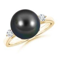 Angara Tahitian Cultured Pearl Ring with Pave Diamonds Kbxy6