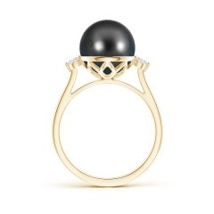 Toggle Classic Tahitian Cultured Pearl Ring with Diamonds