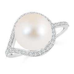Angara Freshwater Cultured Pearl Spiral Halo Ring with Diamonds vpRRH
