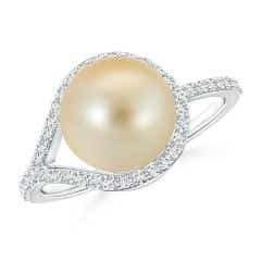 Floating Golden South Sea Cultured Pearl Solitaire Ring with Diamond Studded Loop