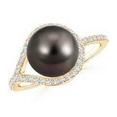 Tahitian Cultured Pearl Ring with Diamond Loop