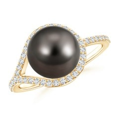 Tahitian Cultured Pearl and Diamond Halo Loop Ring