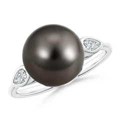 Classic Ball Tahitian Cultured Pearl Cocktail Ring with Diamond Pear Motifs
