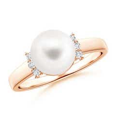Solitaire Round Freshwater Cultured Pearl Dome Ring with Collar Diamonds