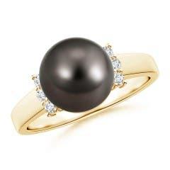 Tahitian Cultured Pearl and Diamond Collar Ring