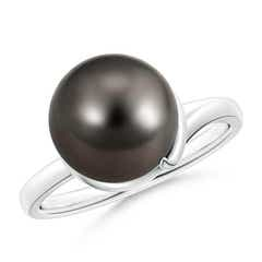 Twist Round Tahitian Cultured Pearl Wrap Ring with Spiral Metal Loop