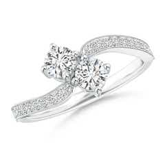 Vintage Inspired Two Stone Diamond Bypass Ring