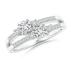 Two Stone Diamond Split Shank Ring