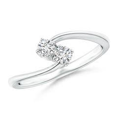 Angara Round Diamond Twist Ring with Prong Set in Platinum jwpZPZ