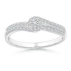 Bypass Round Diamond Swirl Halo Engagement Ring