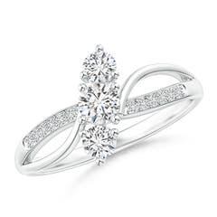 Three Stone Diamond Bypass Split Shank Ring