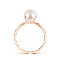 Toggle Akoya Cultured Pearl and Diamond Split Shank Ring