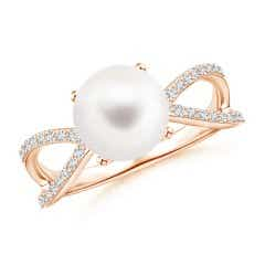 FreshWater Cultured Pearl and Diamond Split Shank Ring