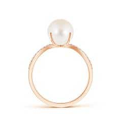 Toggle FreshWater Cultured Pearl and Diamond Split Shank Ring