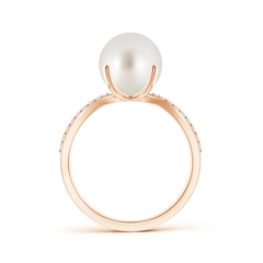 Toggle South Sea Cultured Pearl and Diamond Split Shank Ring