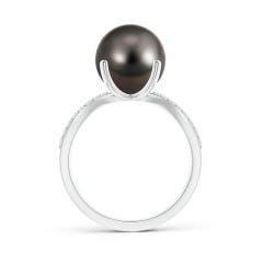 Toggle Tahitian Cultured Pearl and Diamond Split Shank Ring