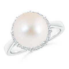 FreshWater Cultured Pearl and Diamond Halo Victorian-style Ring