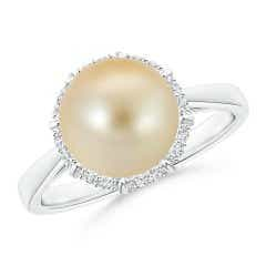 Victorian Style Golden South Sea Cultured Pearl Halo Ring
