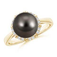 Victorian Style Tahitian Cultured Pearl and Diamond Ring