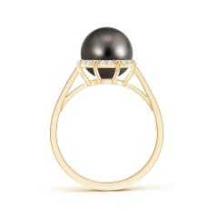 Toggle Victorian Style Tahitian Cultured Pearl and Diamond Ring