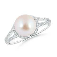 Twin Shank Akoya Cultured Pearl and Diamond Cradle Ring