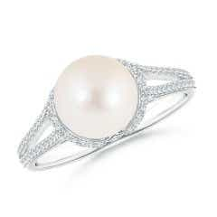 Twin Shank FreshWater Cultured Pearl and Diamond Cradle Ring