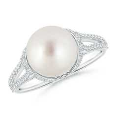 Twin Shank South Sea Cultured Pearl and Diamond Cradle Ring