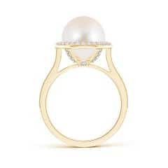 Toggle Freshwater Cultured Pearl Halo Ring with Milgrain